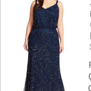 NWT Adrianna Papell Beaded Art Deco Blouson Gown